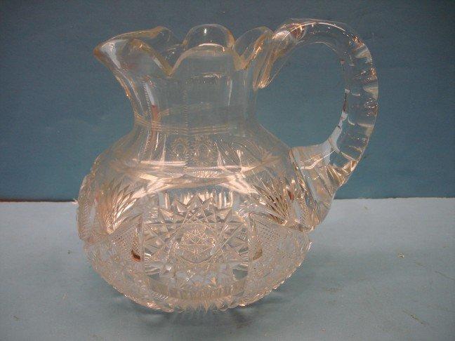 14: American Brilliant Period Cut Glass Water Pitcher