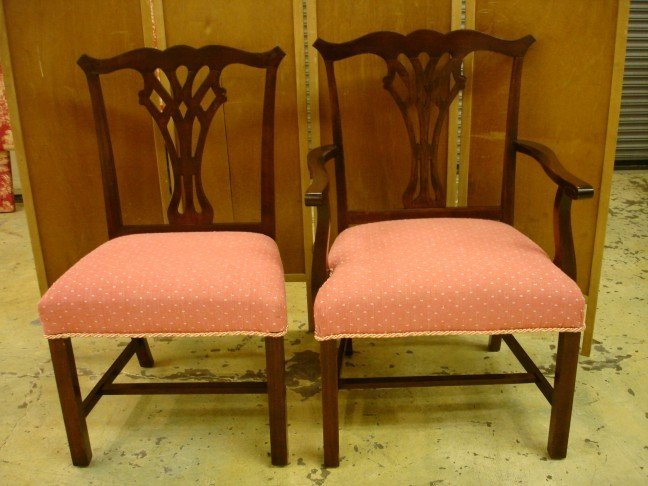 19: Eight Mah. Chippendale Style Straight Leg Chairs