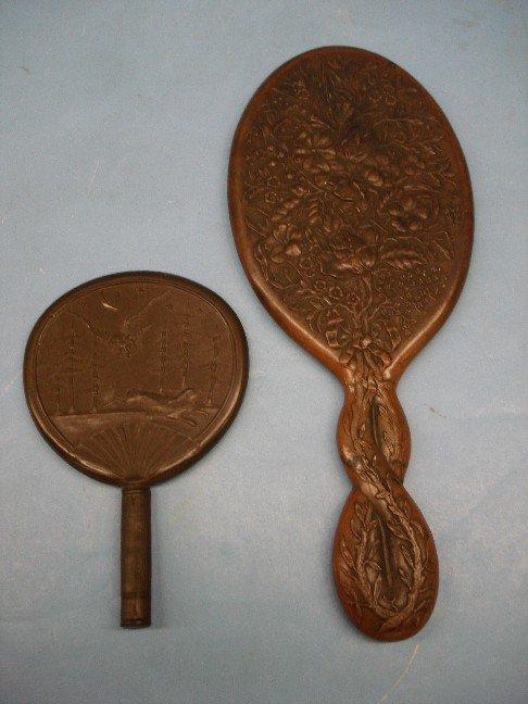 23: Two Gutta Percha Hand Mirrors - One w/ Owl & Rabbit