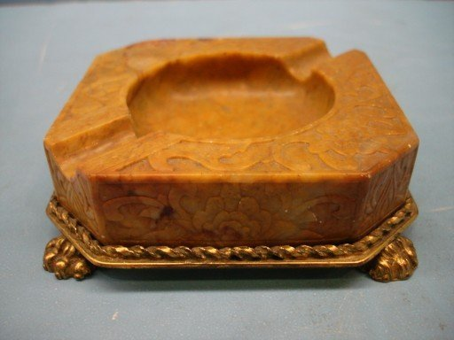 8: Carved Stone Ashtray with Dore Base and Claw Feet