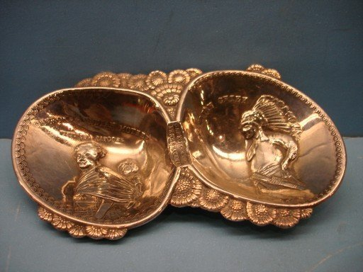 24: Silver Double Nut Dish - Cherokee Indians