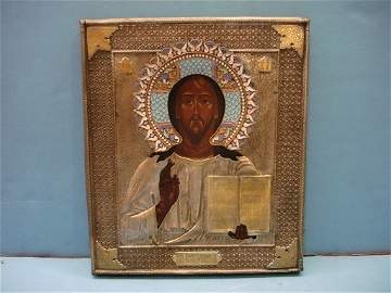 164: Russian Silver & Wood Icon with Enamel Decoration