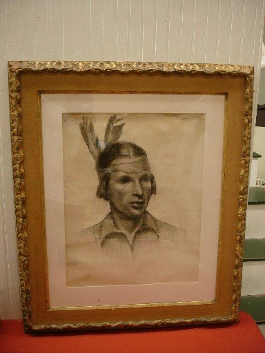19: Charcoal Drawing of American Indian