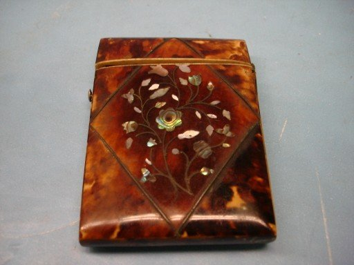 Tortoise Shell Card Case w/ Floral Mother of Pearl