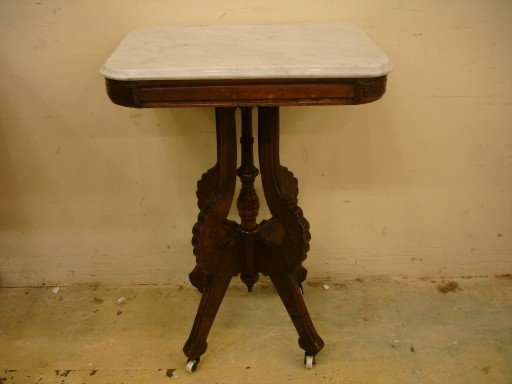 Walnut Victorian Marble Top Stand