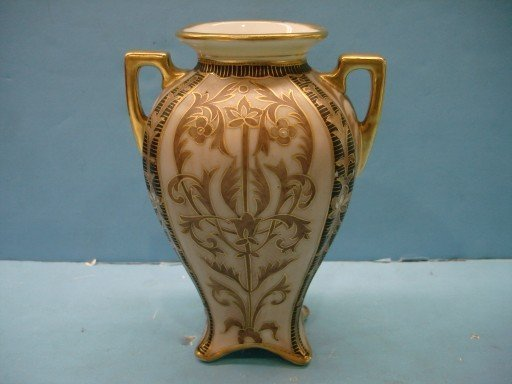 Hand Painted Nippon Urn w/ stylized floral decoration