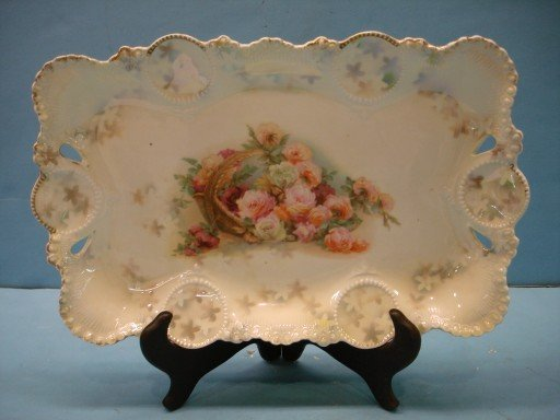R. S. Prussia Luster Decorated Dresser Tray