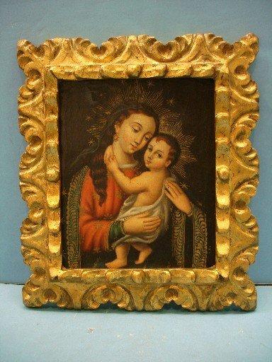 Gilt Framed Modern Oil on Canvas - Madonna & Child