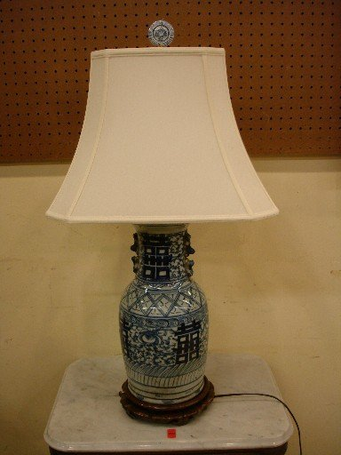 Blue & White Canton Vase mounted as lamp