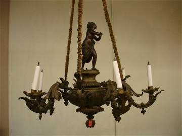 Fine Bronze Gas Light Chandelier