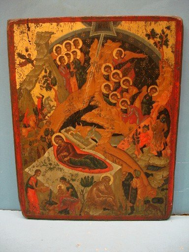 83: Russian Wooden Icon - Manger Scene