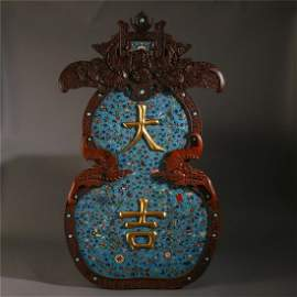 CHINESE ROSEWOOD CARVED CLOISONNE FLOWER HANGED SCREENS