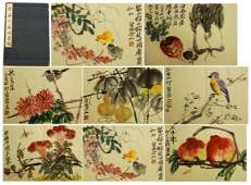 FORTYTWO CHINESE PAINTING ALBUM OF FLOWER AND BIRD BY