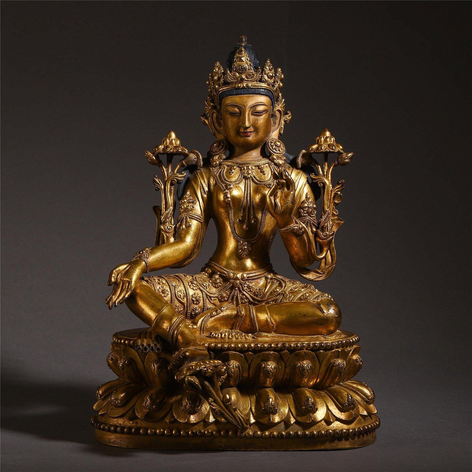 TIBETAN GILT BRONZE LOTUS HAND GUANYIN SEATED BUDDHA