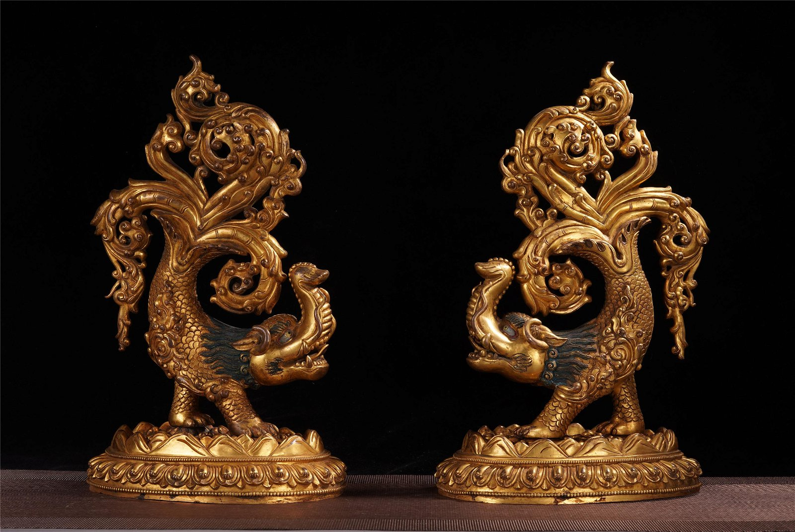PAIR OF CHINESE GILT BRONZE CAST RITUAL INSTRUMENTS