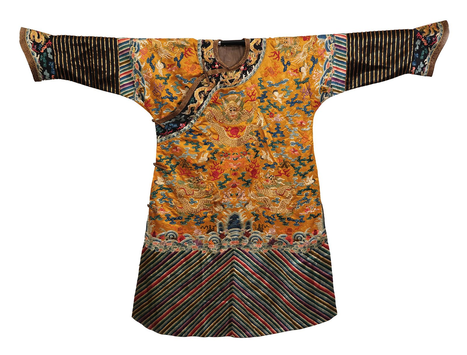 CHINESE YELLOW GROUND EMBROIDERY DRAGON TMPERIAL ROBE