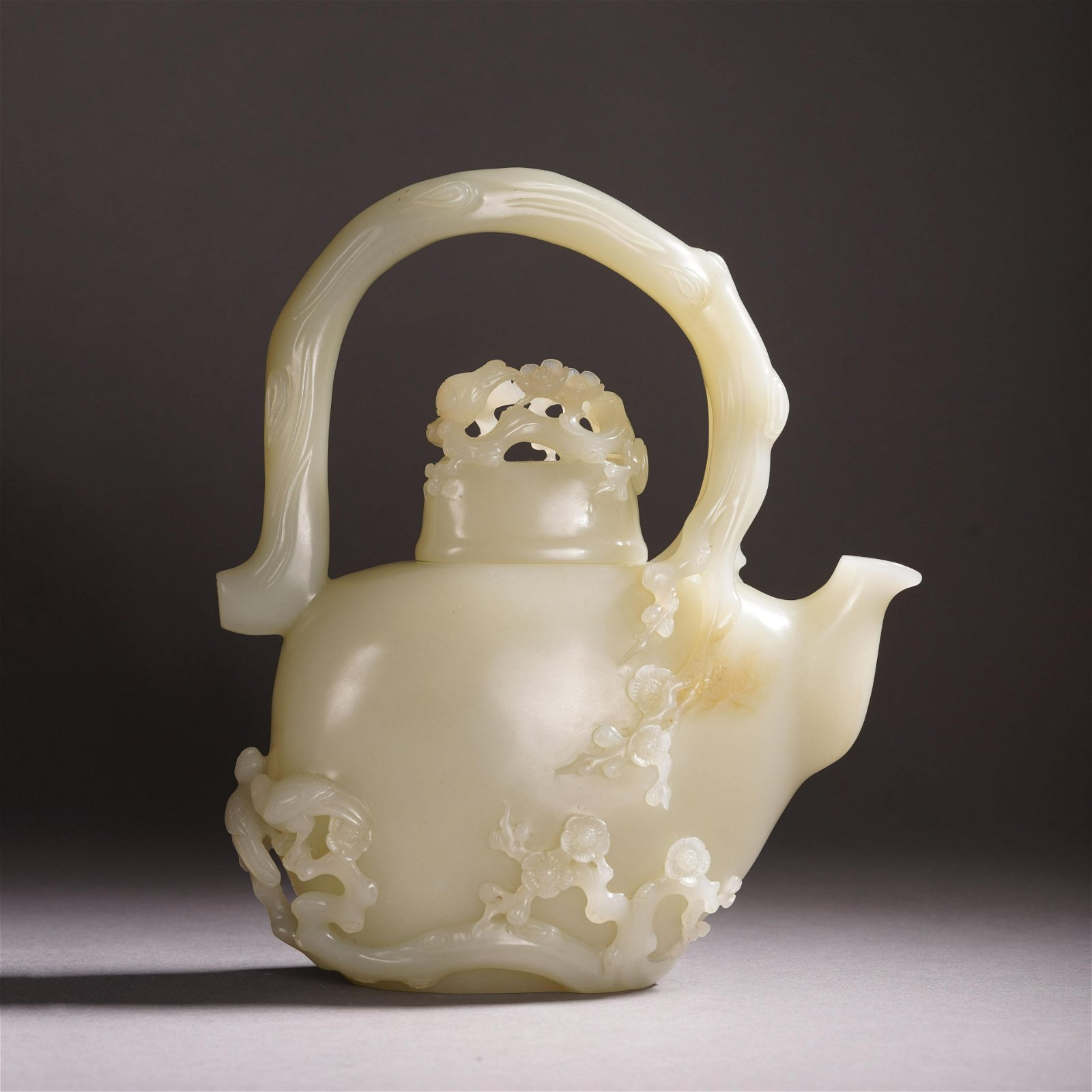CHINESE WHITE JADE CARVED FLOWER LONG HANDLE KETTLE