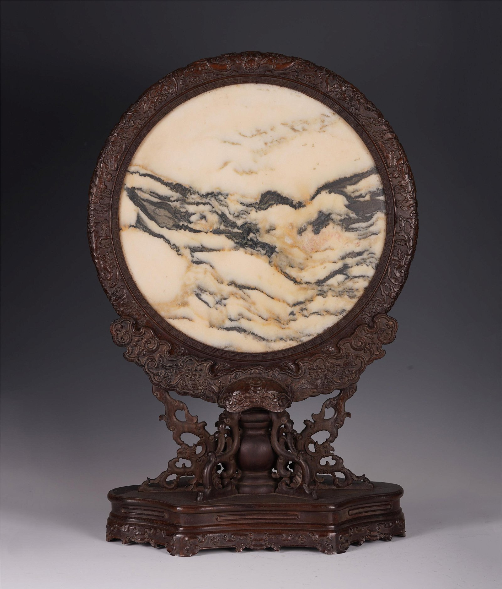 CHINESE ROSEWOOD CARVED STONE INLAID TABLE SCREEN