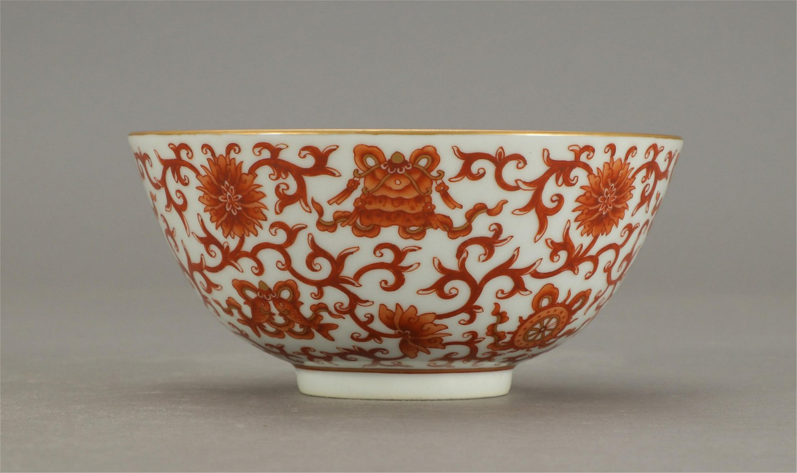 CHINESE COPPER RED PORCELAIN FLOWER BOWL