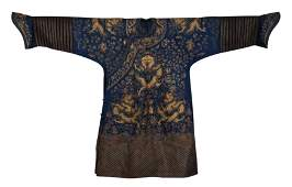 CHINESE BLUE GROUND GOLD FILIGREE EMBROIDERY DRAGON