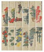 TWELVE OF SIX SCREEN PAINTINGS OF FLOWERS BY QI BAISHI