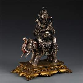 CHINESE GILT SILVER OF BUDDHA ON THE ELEPHANT STATUE