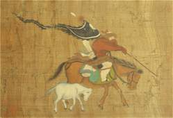 CHINESE SILK SCROLL PAINTING OF WARRIORS ON HORSE BY