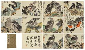 CHINESE INK AND COLOR PAINTING ALBUM OF FLOWERS BIRDS