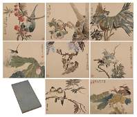CHINESE WATERCOLOR PAINTING ALBUM OF FLOWERS AND BIRDS