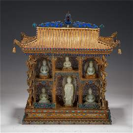 CHINESE JADE BUDDHA STATUES IN ENAMELING GILT SILVER