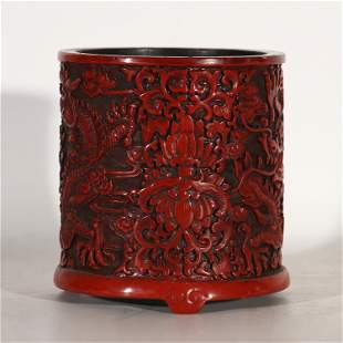 CHINESE CARVED LACQUERWARE DRAGON PATTERN BRUSH POT