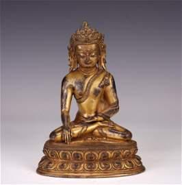 A CHINESE GILT BRONZE SAKYAMUNI BUDDHA SEATED STATUE