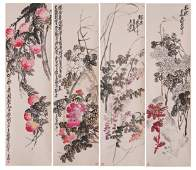 FOUR PANELS OF CHINESE SCROLL COLORFUL PAINTING OF