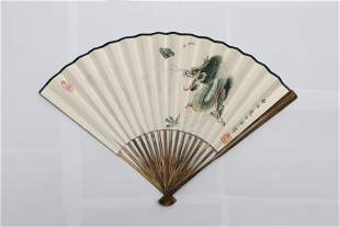 CHINESE FOLDING FAN WITH PAINTING OF DRAGON