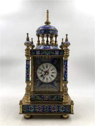 A CHINESE CLOISONNE DESK CLOCK