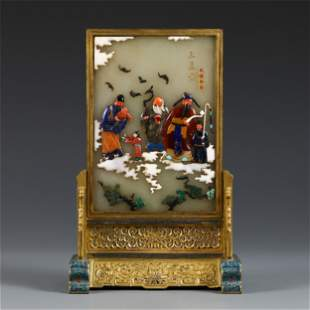 A CHINESE CLOISONNE INLAID JADE TABLE SCREEN