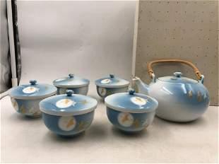 A SET OF CHINESE GRADIENT GLAZE PORCELAIN TEA WARES