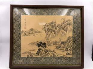 A FRAMED CHINESE SILK PAINTING HANGING SCREEN