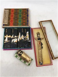 A GROUP OF CHINESE GOLD-PAINTED HUIZHOU INK STICKS