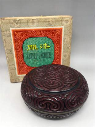 A CHINESE CARVED LACQUER CIRCULAR BOX AND COVER