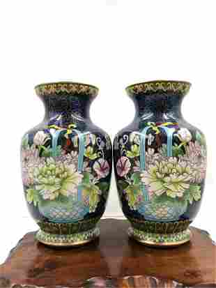 PAIR CHINESE BLUE GROUND FLORAL PATTERN CLOISONNE VASES