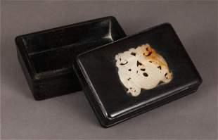 A CHINESE WOOD INLAID JADE BOX