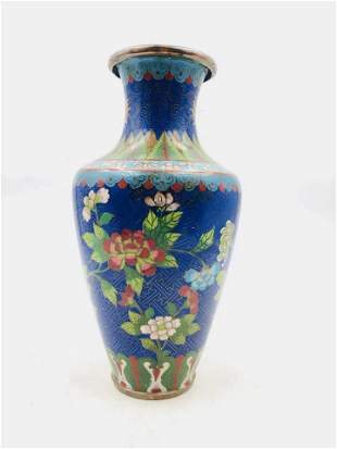 A CHINESE BLUE GROUND FLORAL PATTERN CLOISONNE VASE