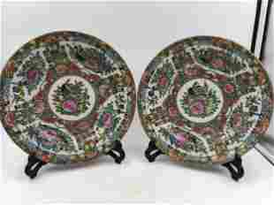 A PAIR OF CHINESE CANTON ENAMEL FLOWERS PATTERN
