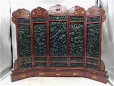 A CHINESE HARDWOOD INLAID BOXWOOD JADEITE TABLE SCREEN