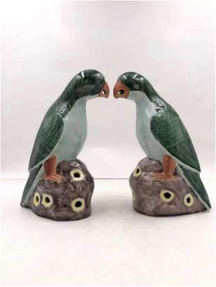 TWO CHINESE GREEN GLAZED FAMILLE ROSE PARROT PORCELAIN