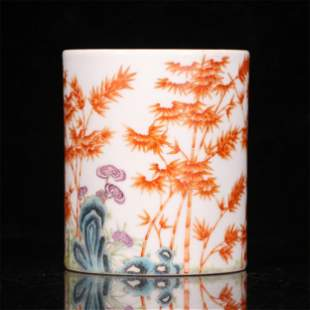 A CHINESE IRON RED GLAZED PORCELAIN BAMBOO PATTERN