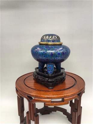 A CHINESE BLUE FLOWERS PATTERN CLOISONNE CENSER