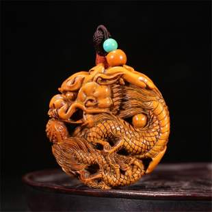A CHINESE CARVED DRAGON HANGED PENDANT