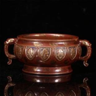 A CHINESE BRONZE GLAZED PORCELAIN DOUBLE HANDLE CENSER